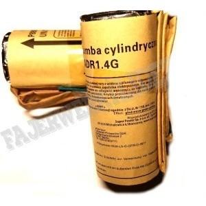 "Bomby cylindryczne 1,75"" - RED WAVE WHITE GLITTER"